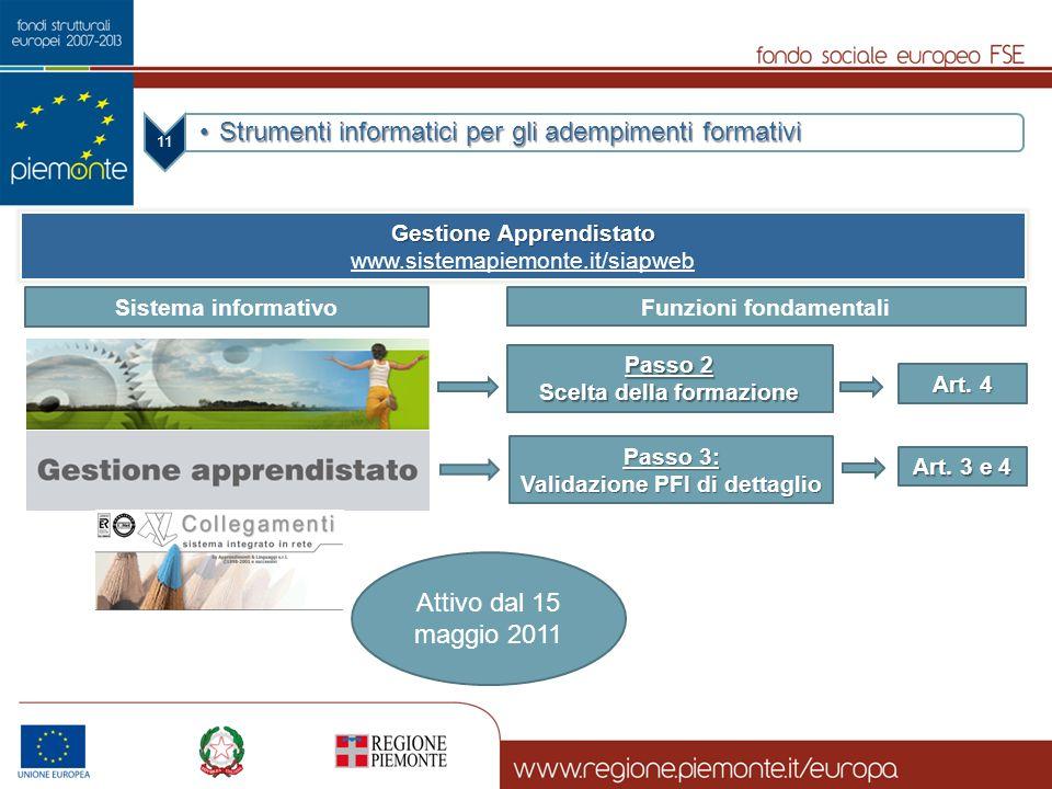 Gestione Apprendistato Funzioni fondamentali Scelta della formazione