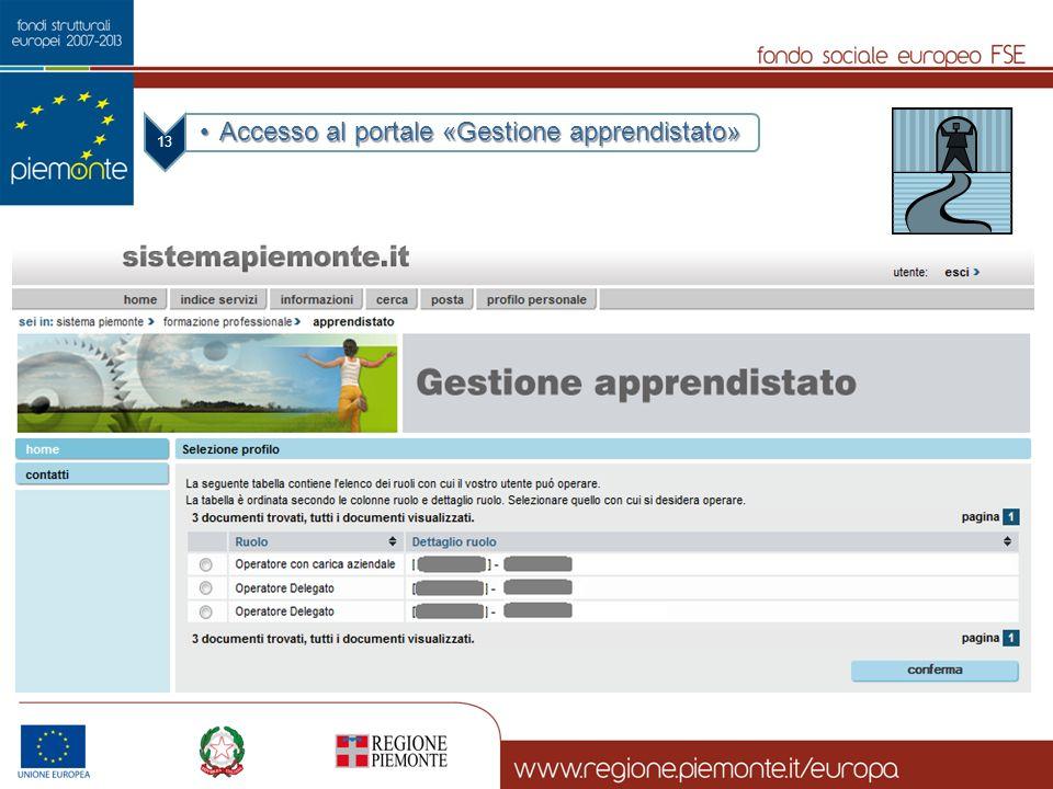 Accesso al portale «Gestione apprendistato»