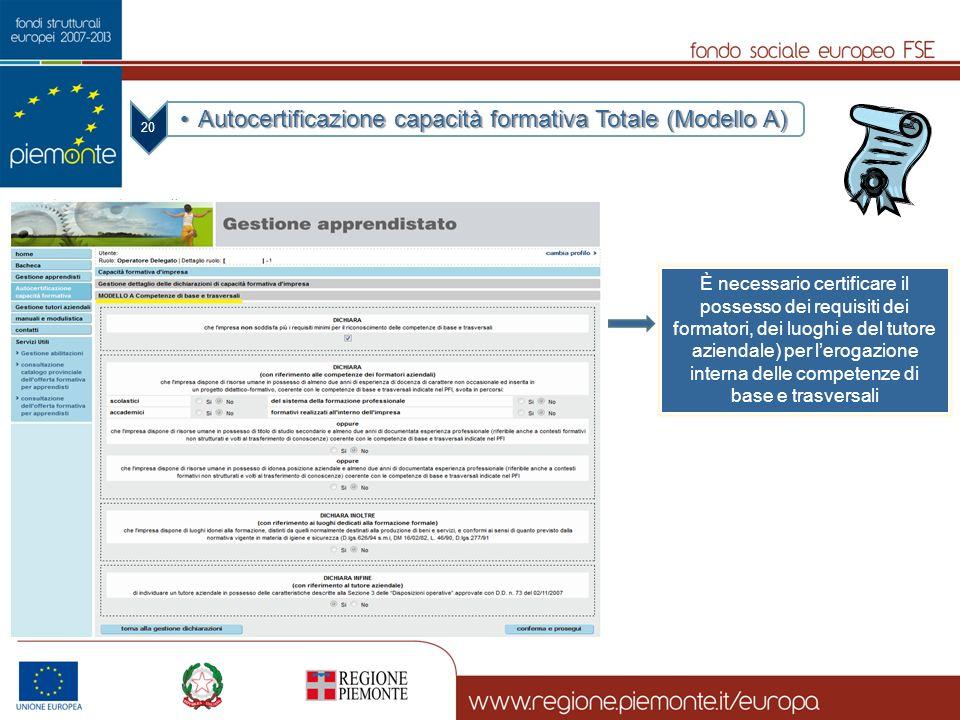 Autocertificazione capacità formativa Totale (Modello A)