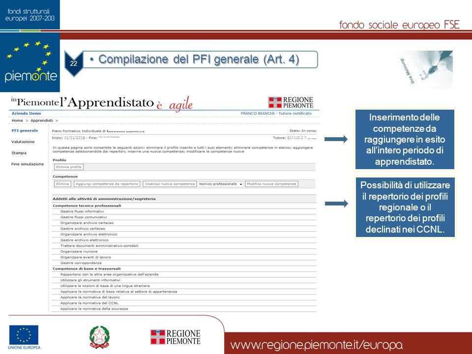 Compilazione del PFI generale (Art. 4)