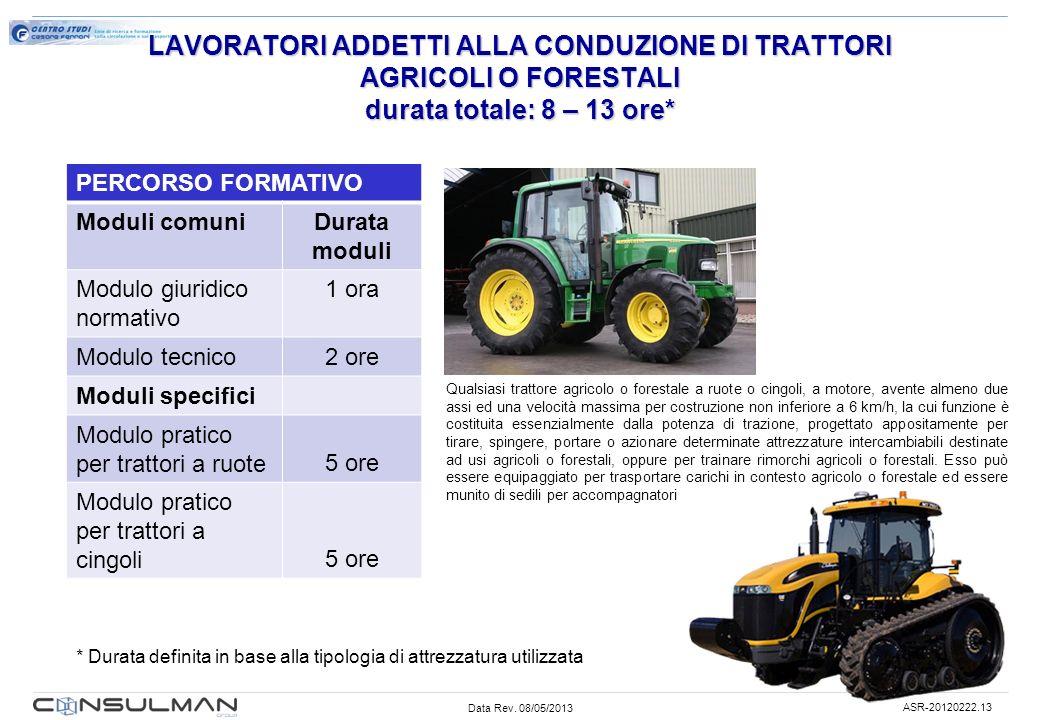 LAVORATORI ADDETTI ALLA CONDUZIONE DI TRATTORI AGRICOLI O FORESTALI durata totale: 8 – 13 ore*