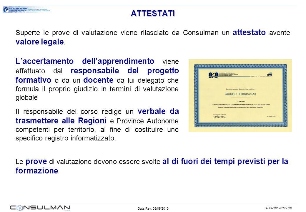ATTESTATI Superte le prove di valutazione viene rilasciato da Consulman un attestato avente valore legale.