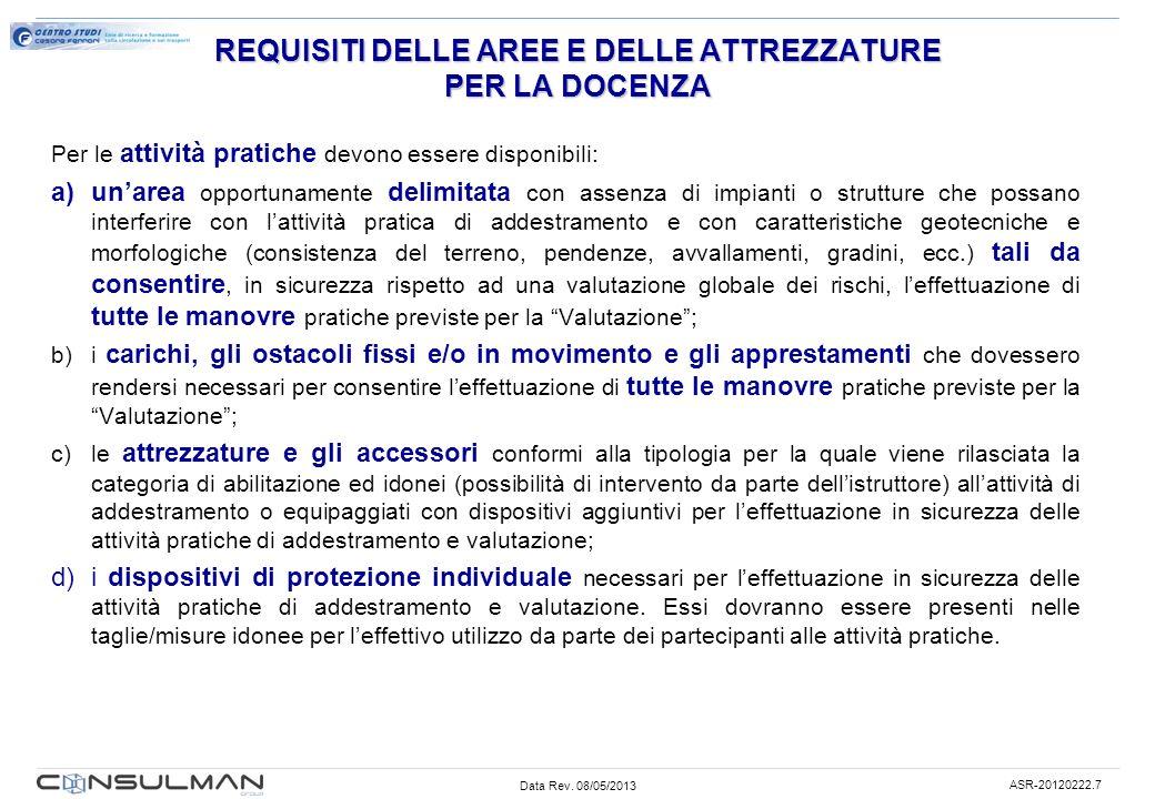 REQUISITI DELLE AREE E DELLE ATTREZZATURE PER LA DOCENZA