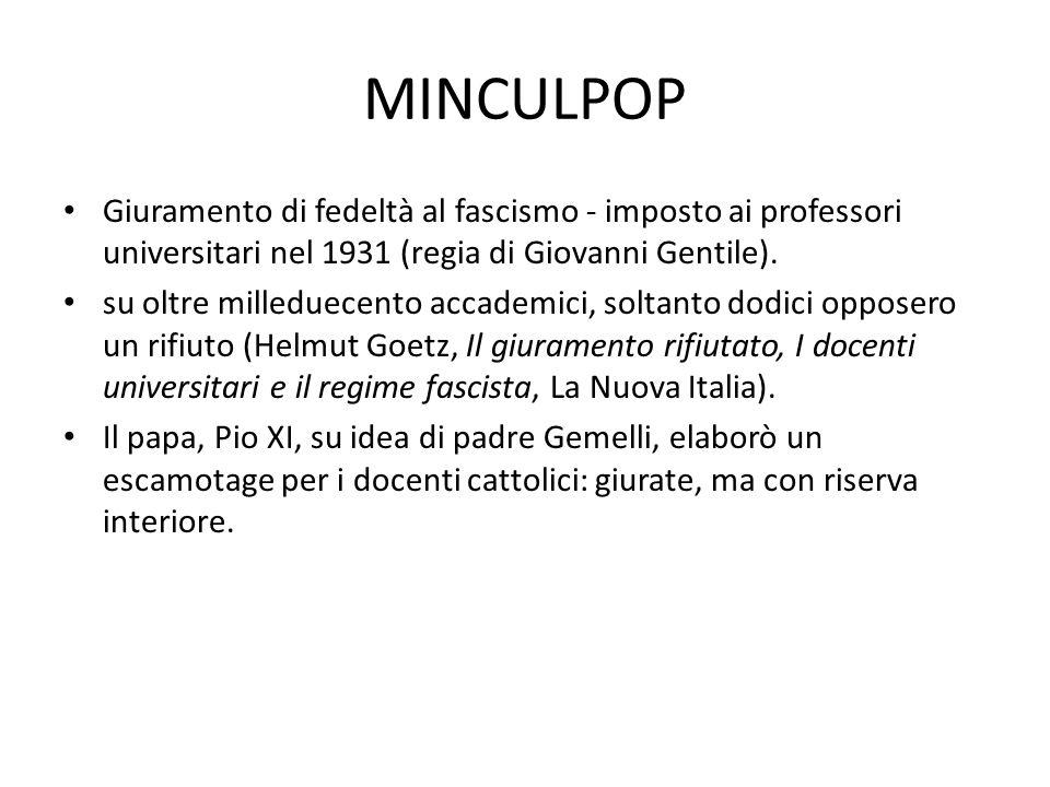 MINCULPOP Giuramento di fedeltà al fascismo - imposto ai professori universitari nel 1931 (regia di Giovanni Gentile).