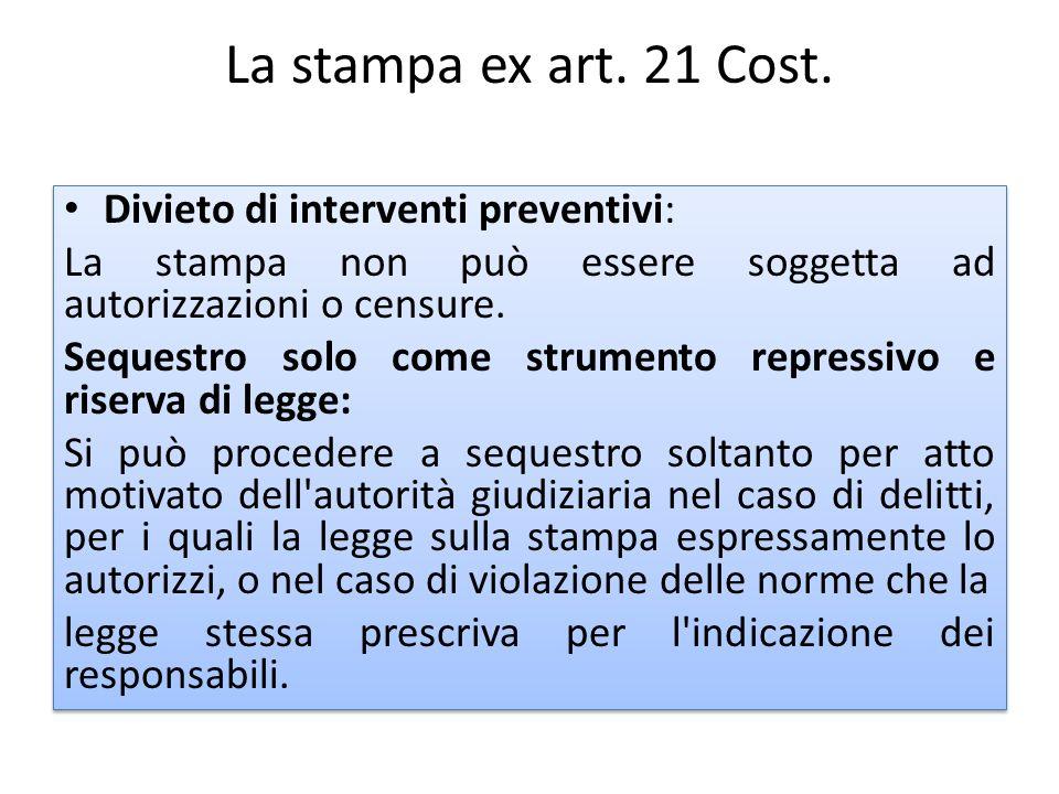 La stampa ex art. 21 Cost. Divieto di interventi preventivi: