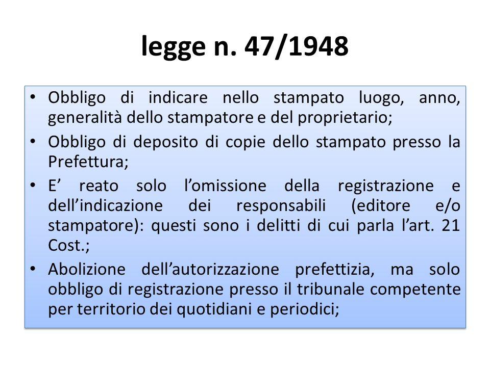 legge n. 47/1948 Obbligo di indicare nello stampato luogo, anno, generalità dello stampatore e del proprietario;