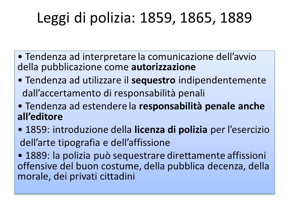 Leggi di polizia: 1859, 1865, 1889