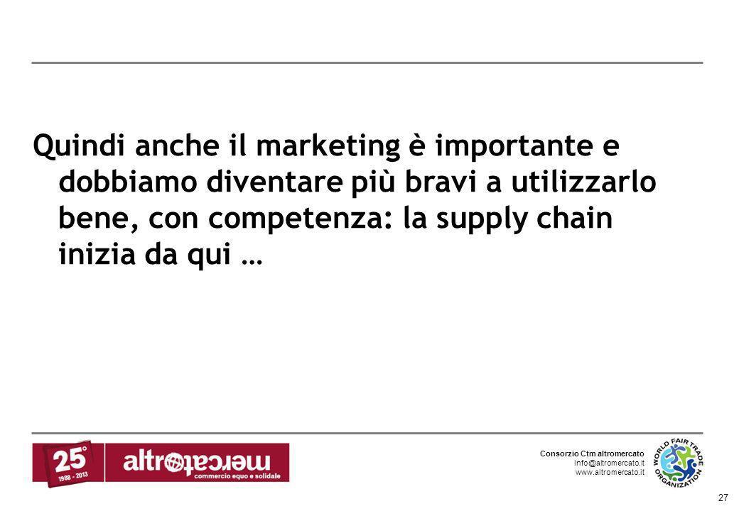 Quindi anche il marketing è importante e dobbiamo diventare più bravi a utilizzarlo bene, con competenza: la supply chain inizia da qui …