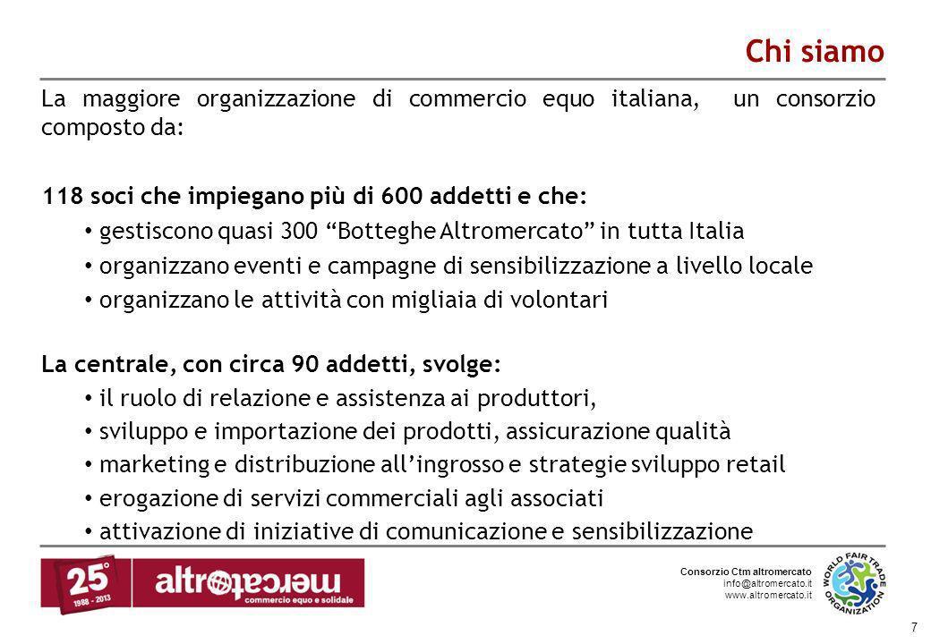 Chi siamoLa maggiore organizzazione di commercio equo italiana, un consorzio composto da: 118 soci che impiegano più di 600 addetti e che: