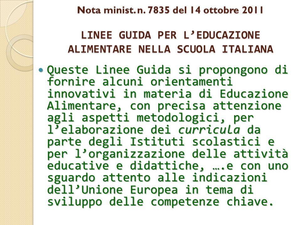 Nota minist. n. 7835 del 14 ottobre 2011 LINEE GUIDA PER L'EDUCAZIONE ALIMENTARE NELLA SCUOLA ITALIANA