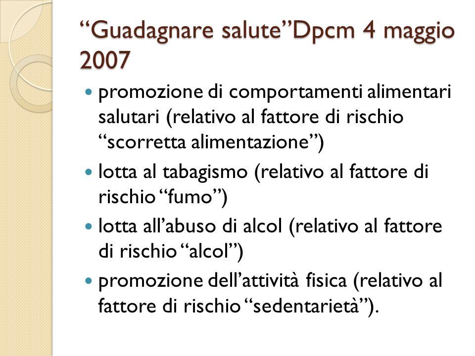 Guadagnare salute Dpcm 4 maggio 2007
