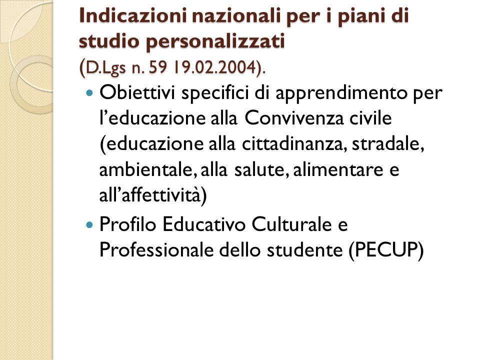 Indicazioni nazionali per i piani di studio personalizzati (D. Lgs n