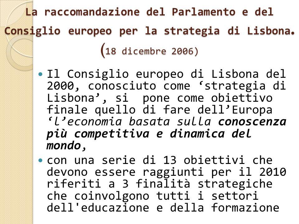 La raccomandazione del Parlamento e del Consiglio europeo per la strategia di Lisbona. (18 dicembre 2006)