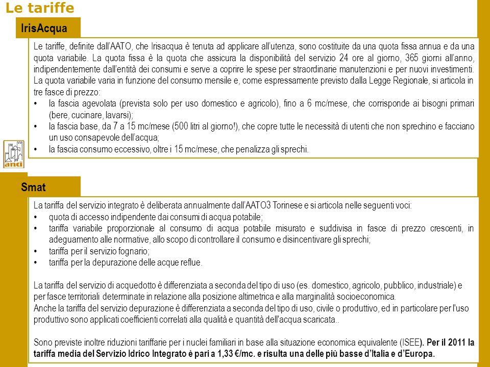 Le tariffe IrisAcqua Smat