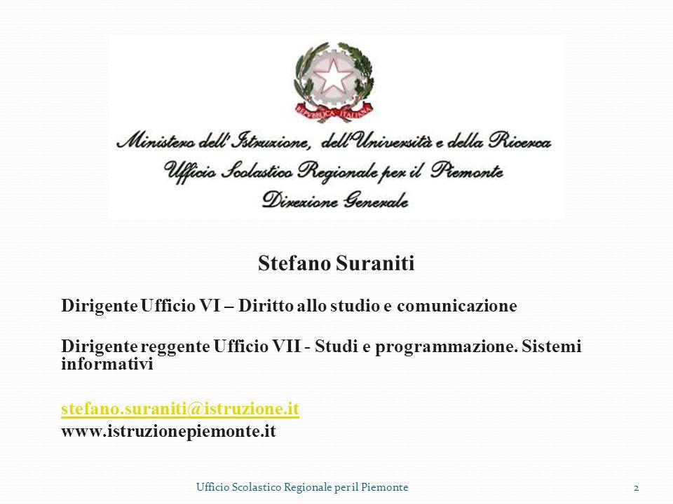 Stefano Suraniti Dirigente Ufficio VI – Diritto allo studio e comunicazione.