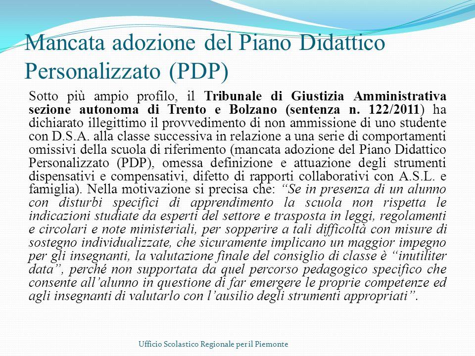 Mancata adozione del Piano Didattico Personalizzato (PDP)