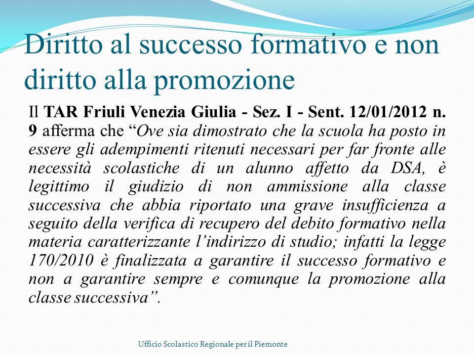 Diritto al successo formativo e non diritto alla promozione
