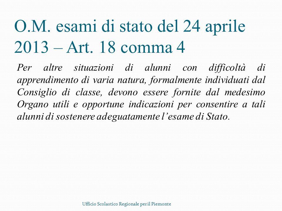 O.M. esami di stato del 24 aprile 2013 – Art. 18 comma 4