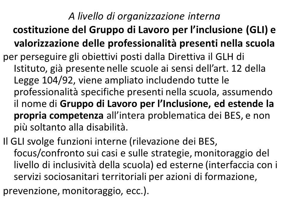 A livello di organizzazione interna costituzione del Gruppo di Lavoro per l'inclusione (GLI) e valorizzazione delle professionalità presenti nella scuola