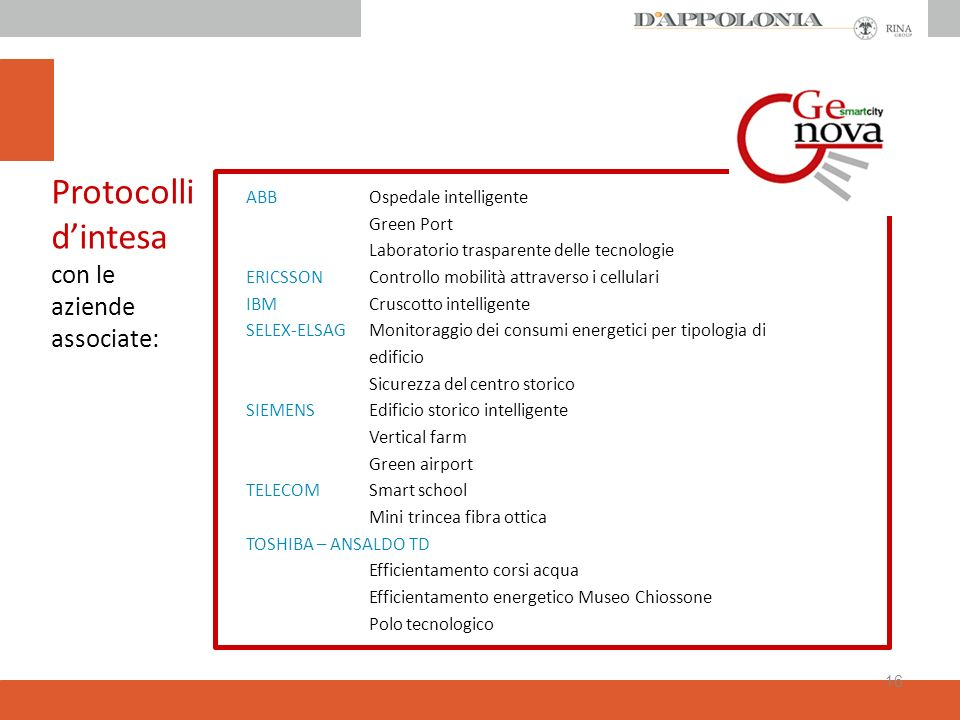 Protocolli d'intesa con le aziende associate: