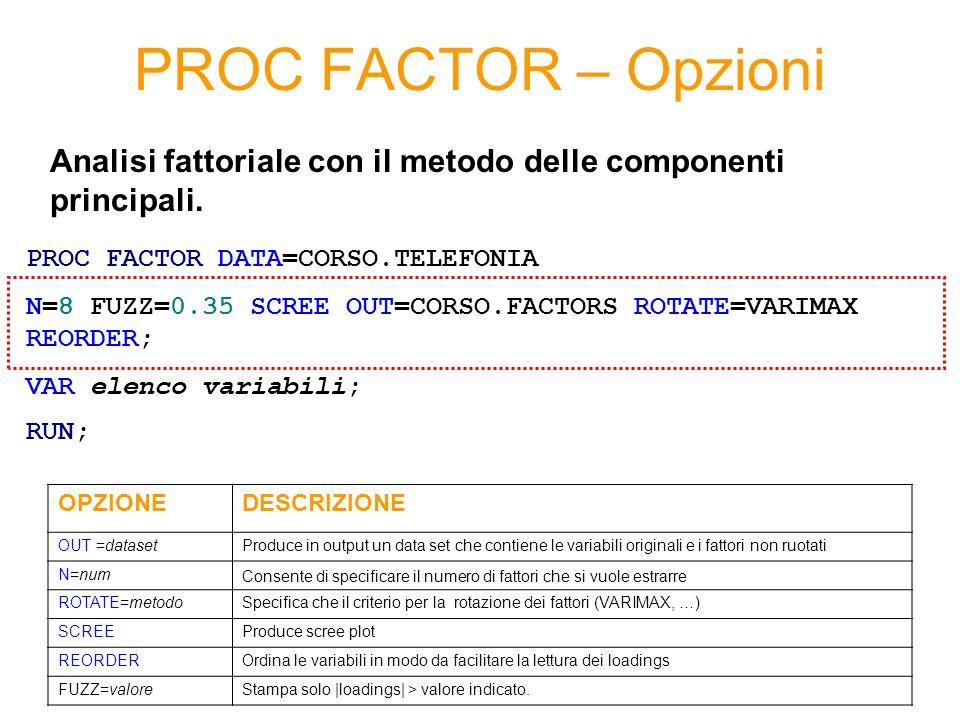PROC FACTOR – Opzioni Analisi fattoriale con il metodo delle componenti principali. PROC FACTOR DATA=CORSO.TELEFONIA.