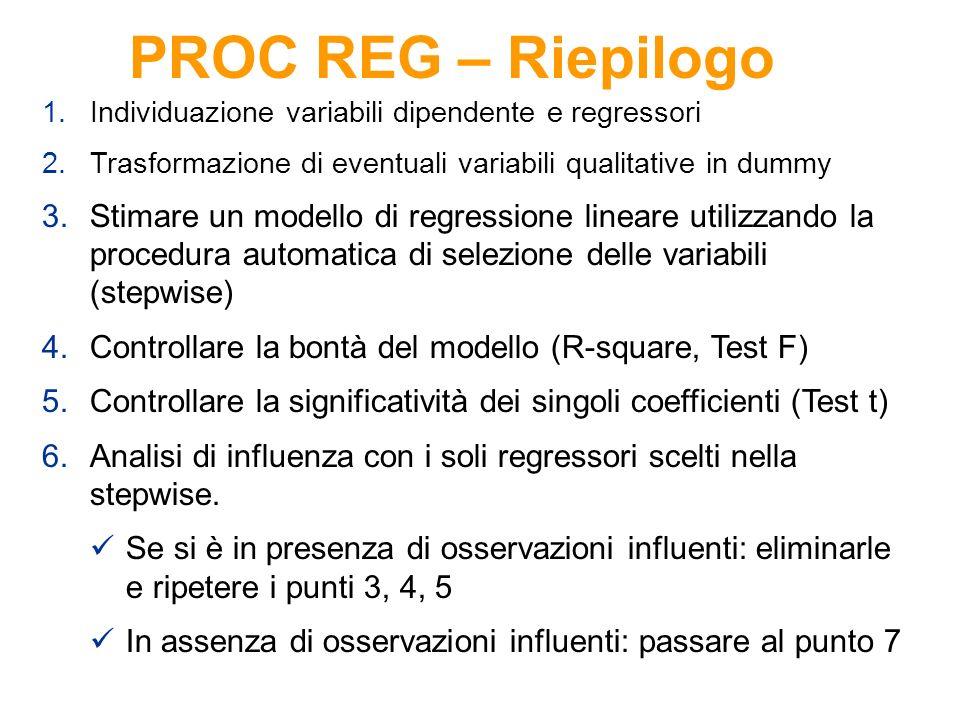 PROC REG – Riepilogo Individuazione variabili dipendente e regressori. Trasformazione di eventuali variabili qualitative in dummy.