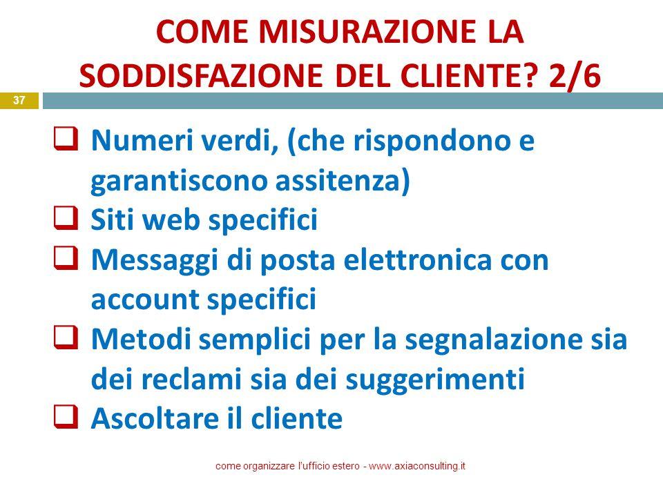 COME MISURAZIONE LA SODDISFAZIONE DEL CLIENTE 2/6