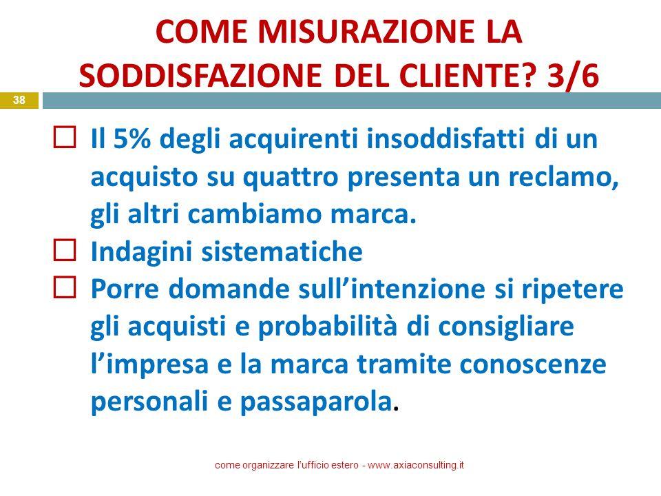 COME MISURAZIONE LA SODDISFAZIONE DEL CLIENTE 3/6