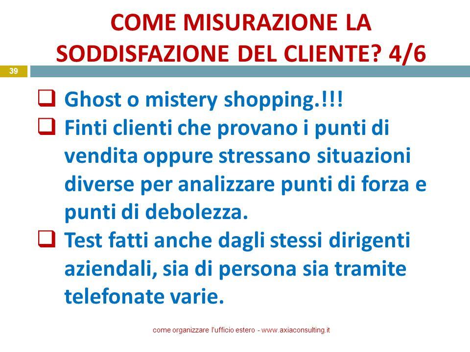 COME MISURAZIONE LA SODDISFAZIONE DEL CLIENTE 4/6