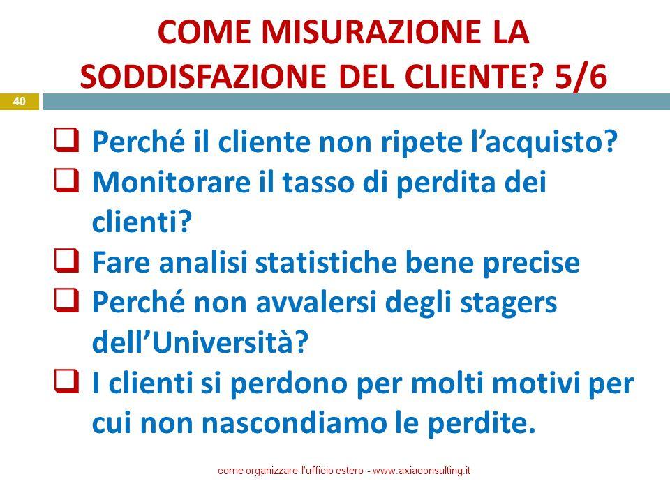 COME MISURAZIONE LA SODDISFAZIONE DEL CLIENTE 5/6