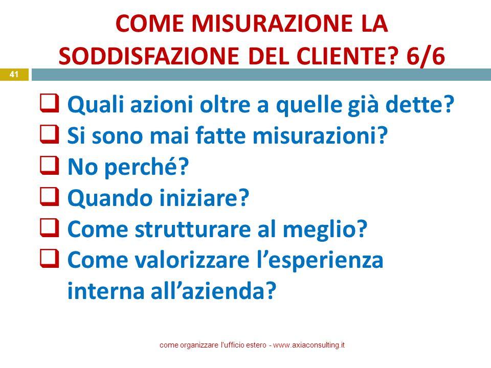 COME MISURAZIONE LA SODDISFAZIONE DEL CLIENTE 6/6
