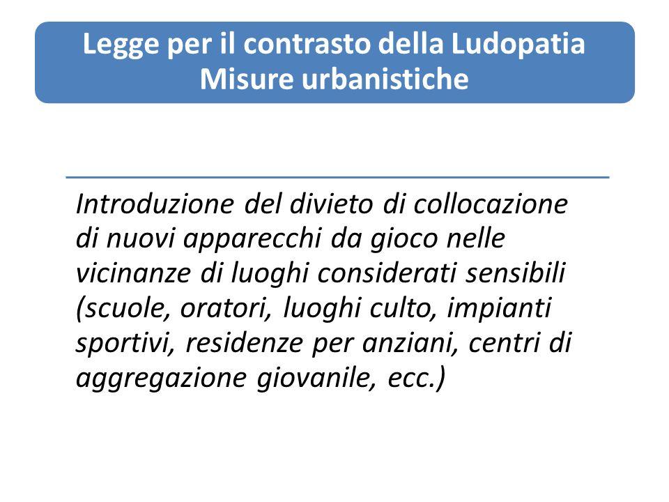 Legge per il contrasto della Ludopatia Misure urbanistiche