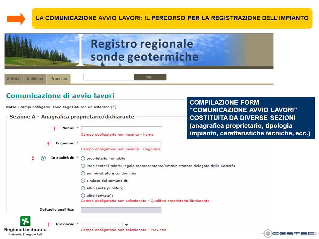 COMPILAZIONE FORM COMUNICAZIONE AVVIO LAVORI