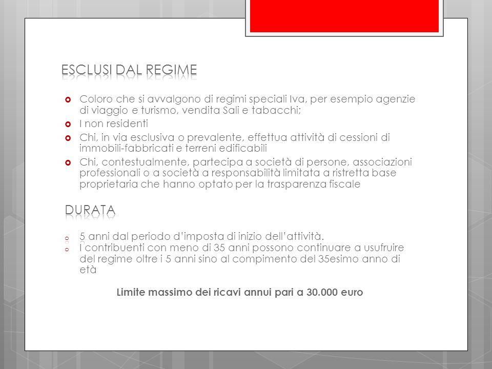 Limite massimo dei ricavi annui pari a 30.000 euro