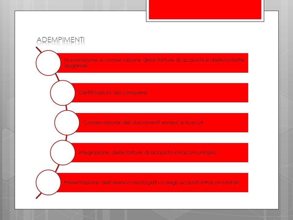 adempimenti Numerazione e conservazione delle fatture di acquisto e delle bollette doganali. Certificazioni dei compensi.