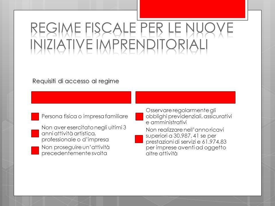 regime fiscale per le nuove iniziative imprenditoriali