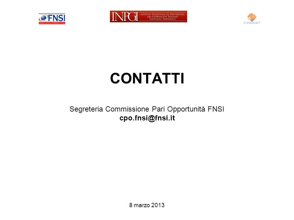 CONTATTI Segreteria Commissione Pari Opportunità FNSI cpo.fnsi@fnsi.it