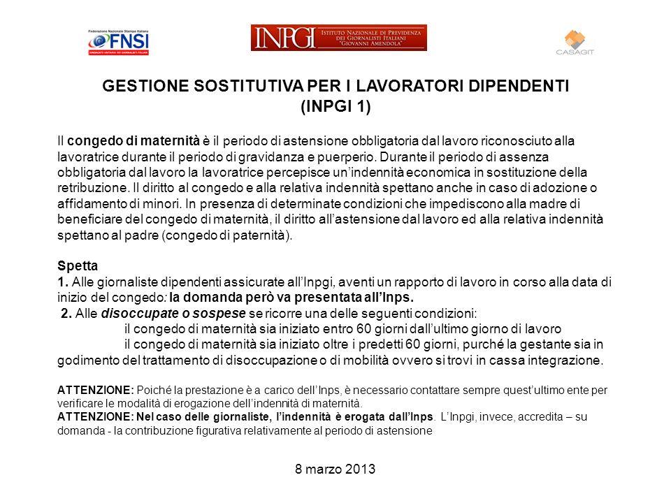 GESTIONE SOSTITUTIVA PER I LAVORATORI DIPENDENTI (INPGI 1)