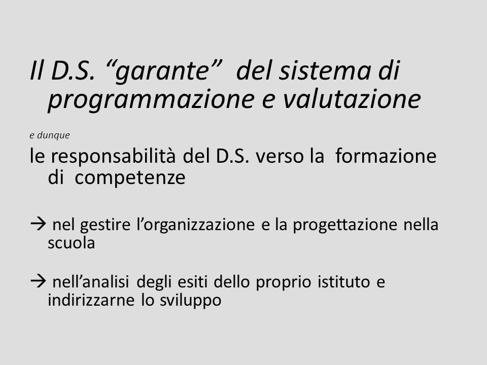 Il D.S. garante del sistema di programmazione e valutazione