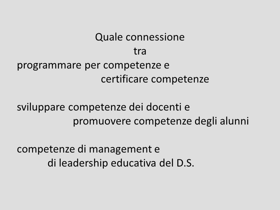 Quale connessione tra programmare per competenze e certificare competenze sviluppare competenze dei docenti e promuovere competenze degli alunni competenze di management e di leadership educativa del D.S.