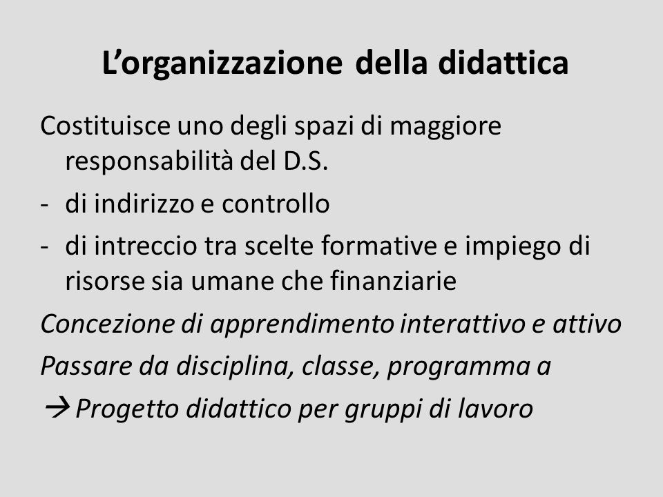 L'organizzazione della didattica