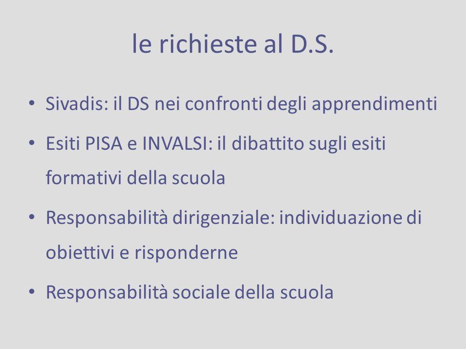 le richieste al D.S. Sivadis: il DS nei confronti degli apprendimenti