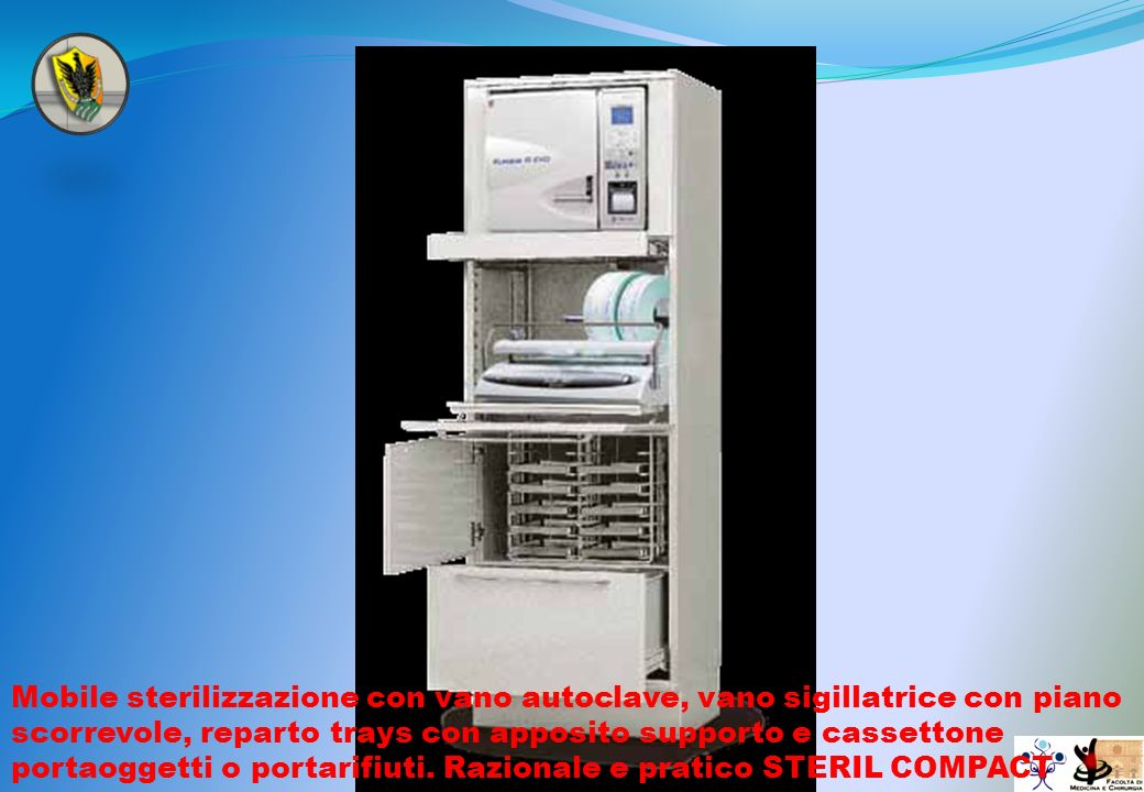 Mobile sterilizzazione con vano autoclave, vano sigillatrice con piano scorrevole, reparto trays con apposito supporto e cassettone portaoggetti o portarifiuti.