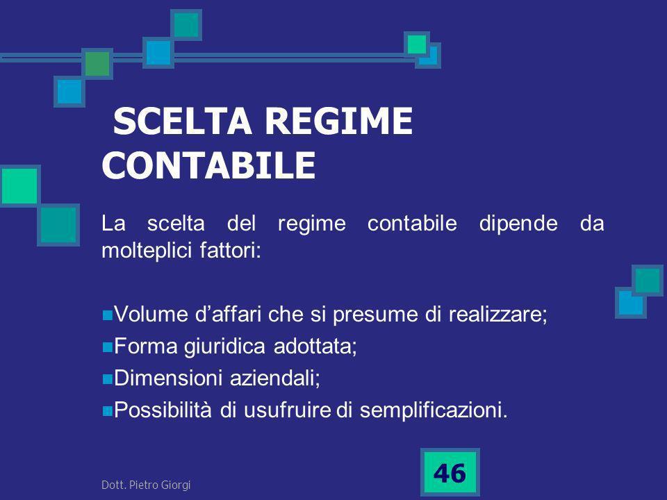 SCELTA REGIME CONTABILE
