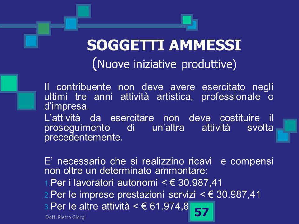 SOGGETTI AMMESSI (Nuove iniziative produttive)