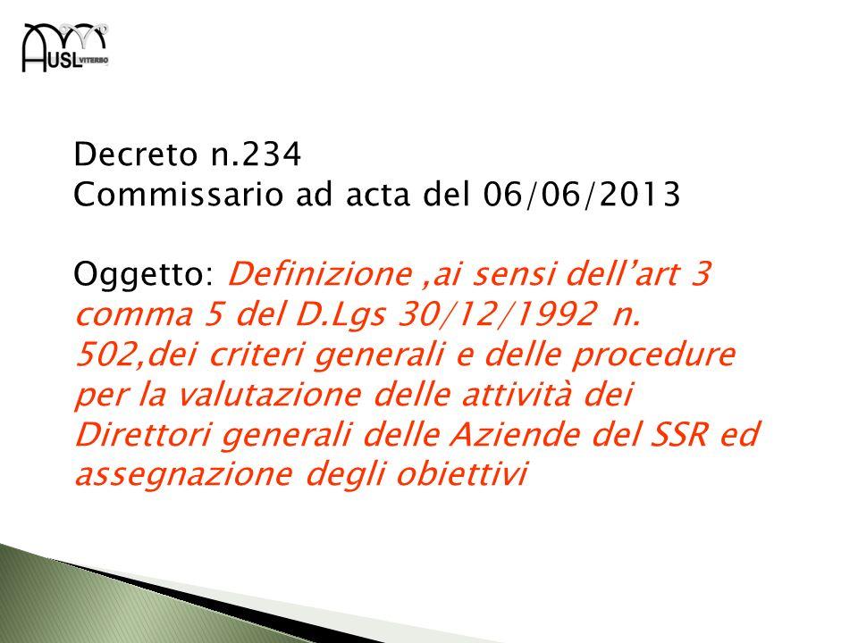 Decreto n.234 Commissario ad acta del 06/06/2013.