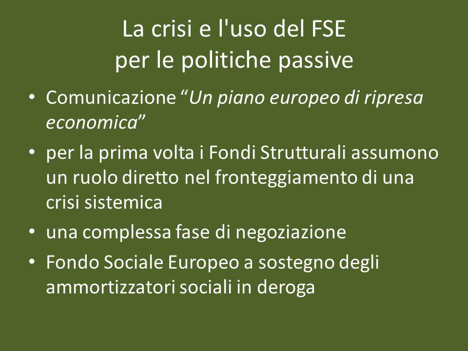 La crisi e l uso del FSE per le politiche passive