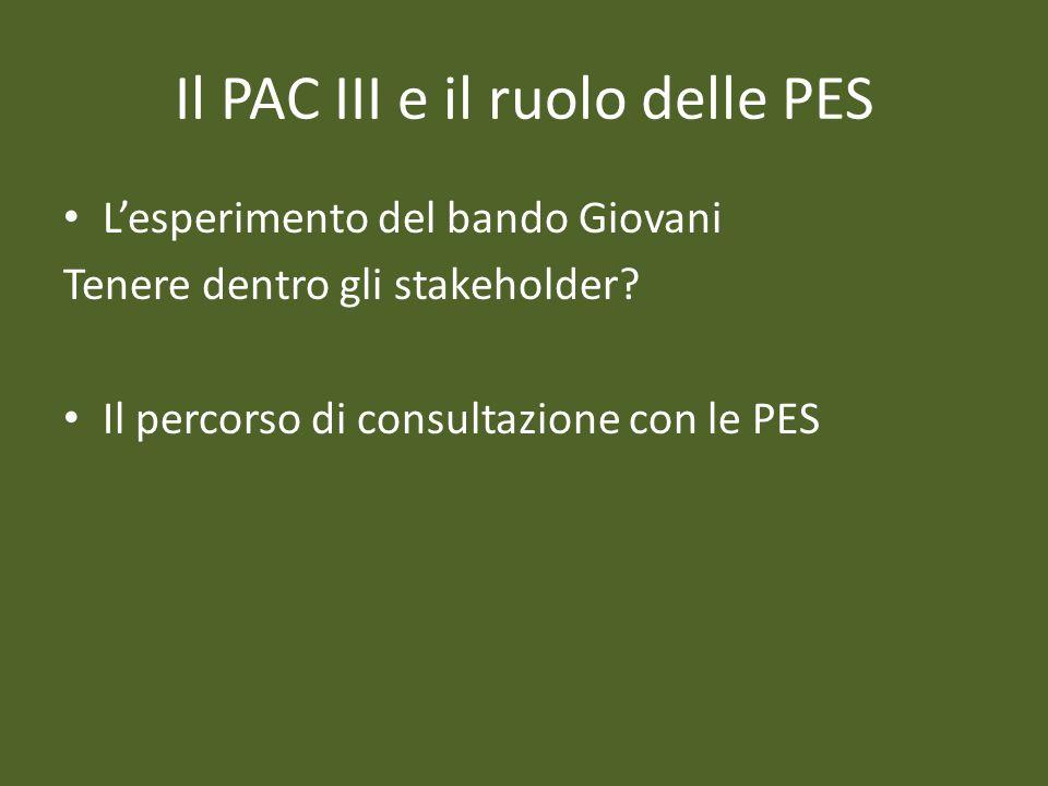 Il PAC III e il ruolo delle PES
