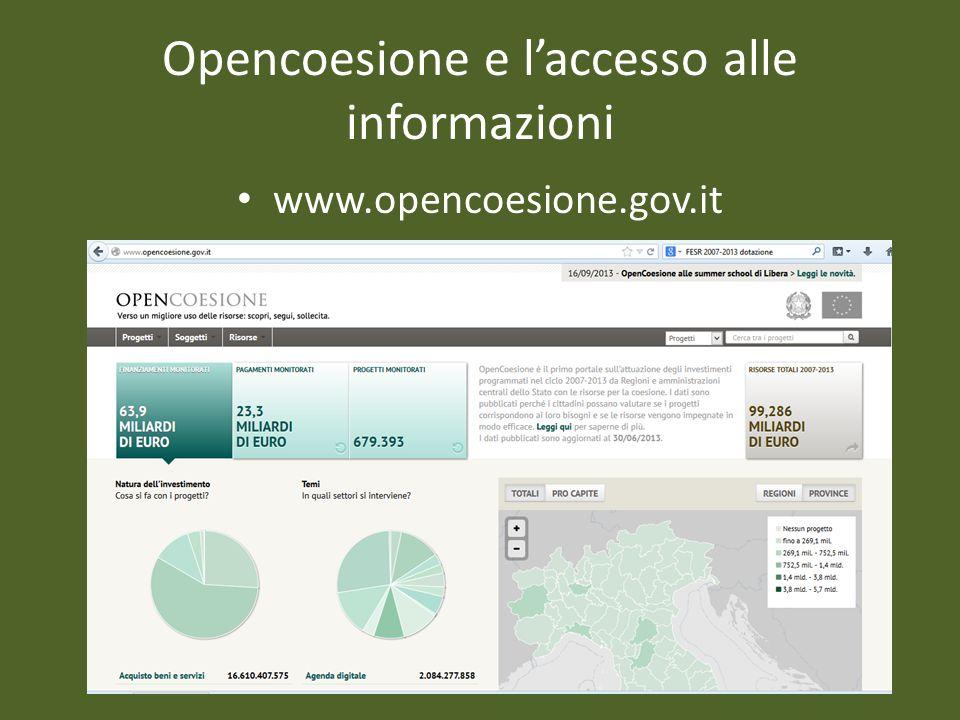 Opencoesione e l'accesso alle informazioni
