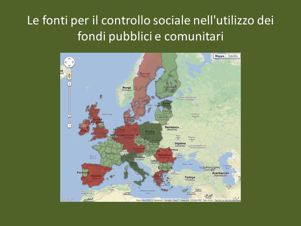 Le fonti per il controllo sociale nell utilizzo dei fondi pubblici e comunitari